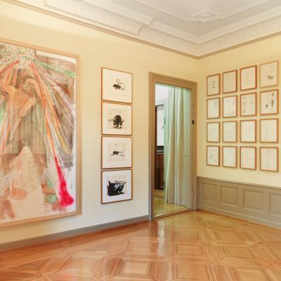 Installationsansicht Eckzimmer - Arbeiten von Albert Oehlen, Verne Dawson, Jack Pierson, Steven Shearer
